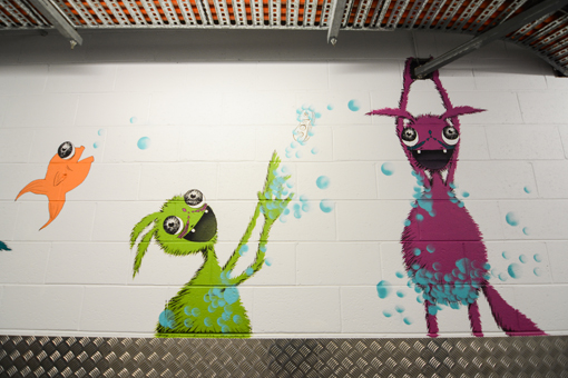 Green and Pink Shower Monsters