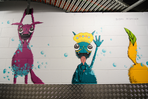 Pink, Blue and Yellow Shower Monsters